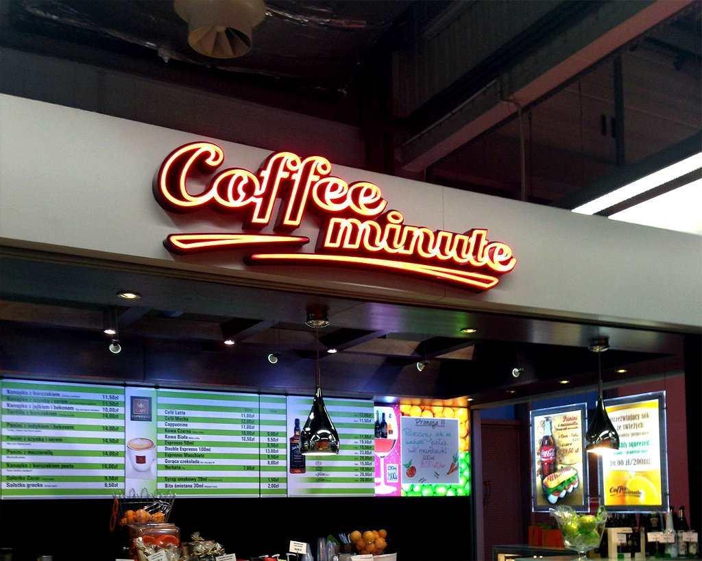 litery przestrzenne COFFE MINUTE